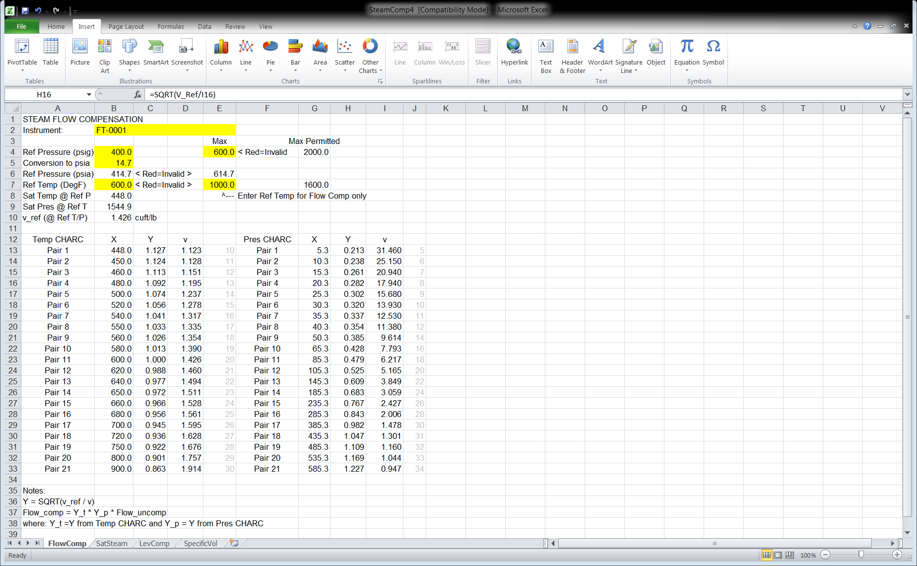 Figure 2 Excel Spreadsheet SteamComp4 Tab FlowComp