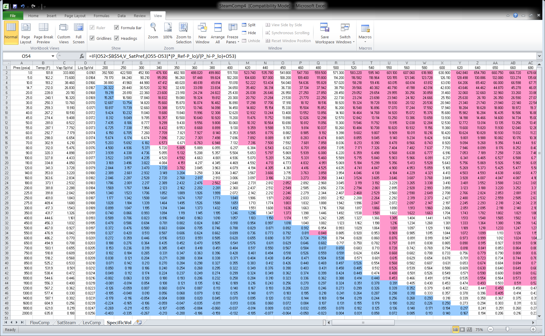 Figure 3 Excel Spreadsheet SteamComp4 Tab SpecificVol Page 1