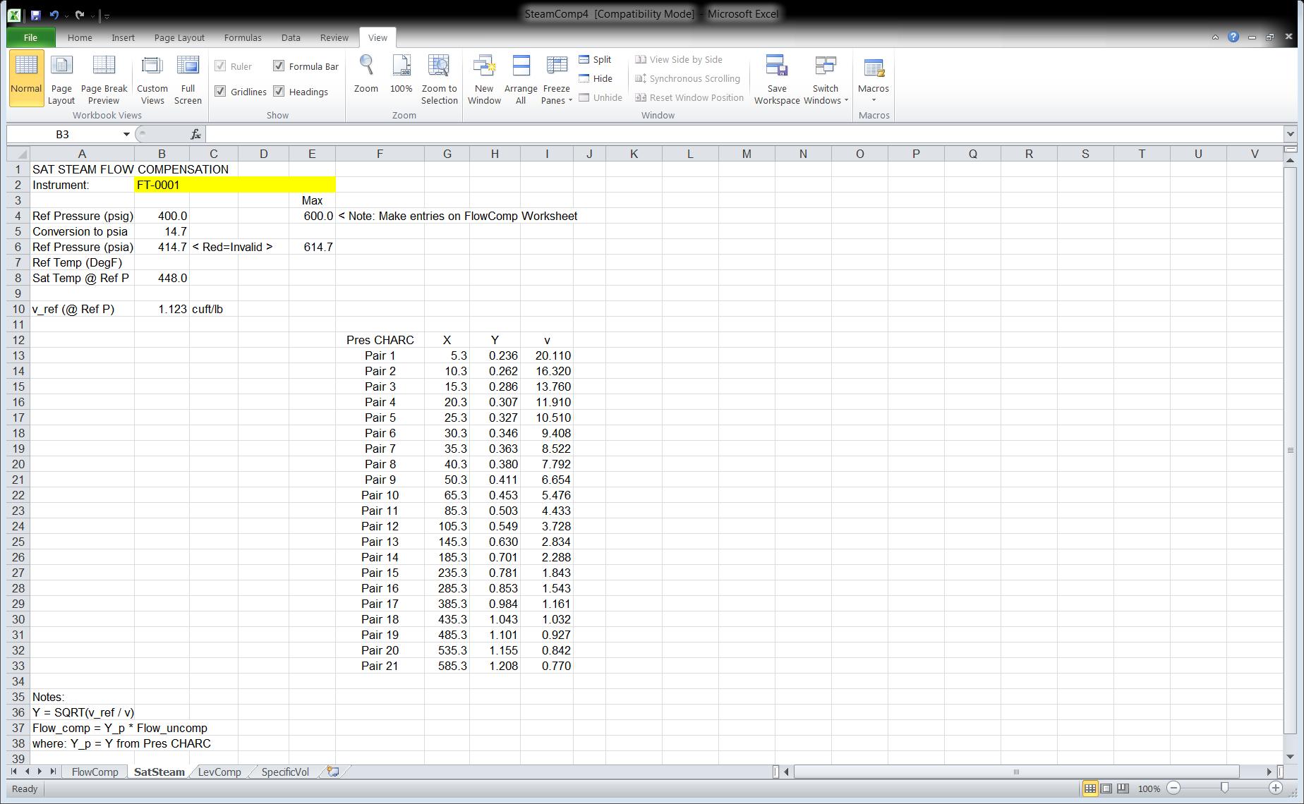 Figure 5 Excel Spreadsheet SteamComp4 Tab SatSteam